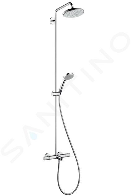 Hansgrohe Croma 220 - Set doccia Showerpipe con termostato, 220 mm, getto singolo, cromato 27223000