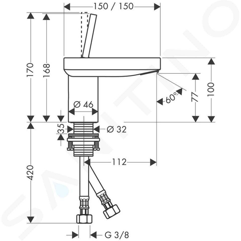 Axor Starck X - Páková umyvadlová baterie, chrom 10077000