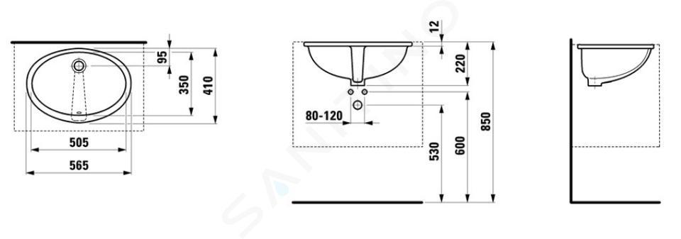 Laufen Lipsy - Vestavné umyvadlo, 565x410 mm, broušená, bílá H8112910000001