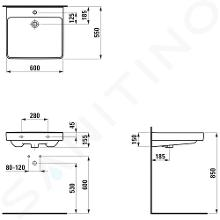 Laufen Pro Liberty - Umyvadlo, 600x550 mm, 1 otvor pro baterii, bílá H8119500001041