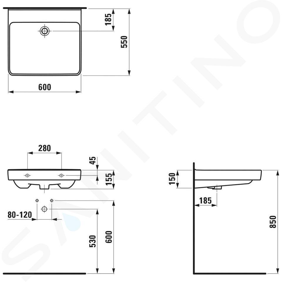 Laufen Pro Liberty - Umyvadlo, 600x550 mm, bez otvoru pro baterii, bílá H8119500001091