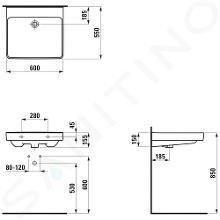 Laufen Pro Liberty - Umyvadlo, 600x550 mm, bez otvoru pro baterii, bez přepadu, bílá H8119500001421