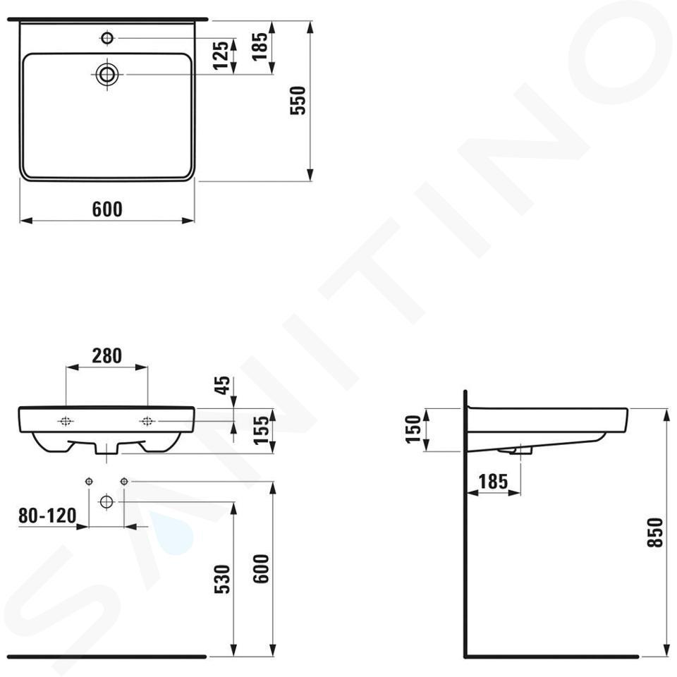 Laufen Pro Liberty - Umyvadlo, 600x550 mm, 1 otvor pro baterii, bez přepadu, bílá H8119500001561