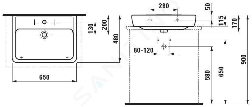 Laufen Pro A - Umyvadlo, 650x480 mm, 1 otvor pro baterii, bílá H8179530001041