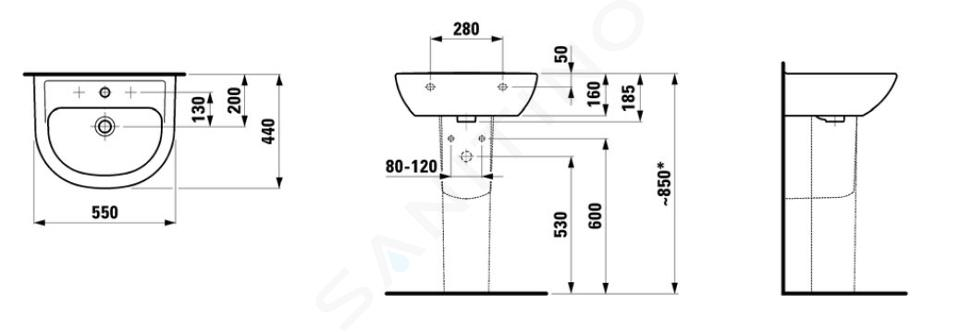 Laufen Pro B - Umyvadlo, 550x440 mm, 1 otvor pro baterii, s LCC, bílá H8109514001041