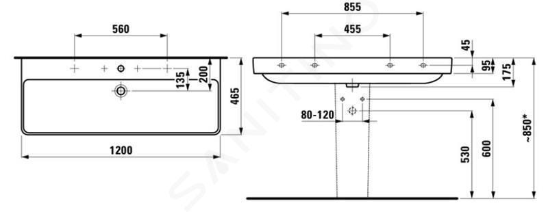 Laufen Pro S - Umyvadlo, 1200x465 mm, 2 otvory pro baterie, bílá H8149650001071