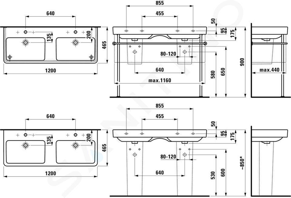Laufen Pro S - Dvojumyvadlo, 1200x465 mm, bez otvoru pro baterii, bílá H8149660001091