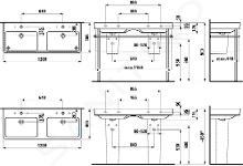 Laufen Pro S - Dvojumyvadlo, 1200x465 mm, se 6 otvory pro baterie, s LCC, bílá H8149664001081