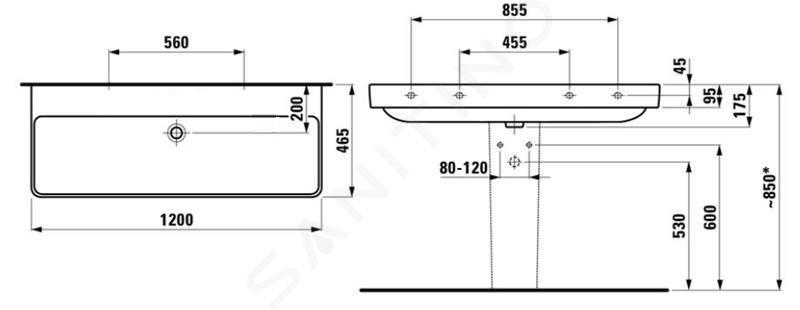 Laufen Pro S - Umyvadlo, 1200x465 mm, bez otvoru pro baterii, s LCC, bílá H8149654001091