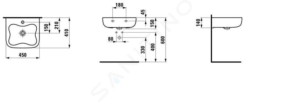 Laufen Florakids - Umývátko, 450x410 mm, 1 otvor pro baterii, bílá/červená H8150310621041