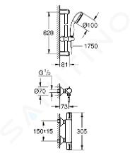 Grohe Grohtherm 800 - Termostatická sprchová baterie se sprchovou soupravou 600 mm, 2 proudy, chrom 34565001