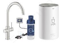 Grohe Red - Mitigeur d'évier Duo avec chauffe-eau et filtration, réservoir M, supersteel 30083DC1