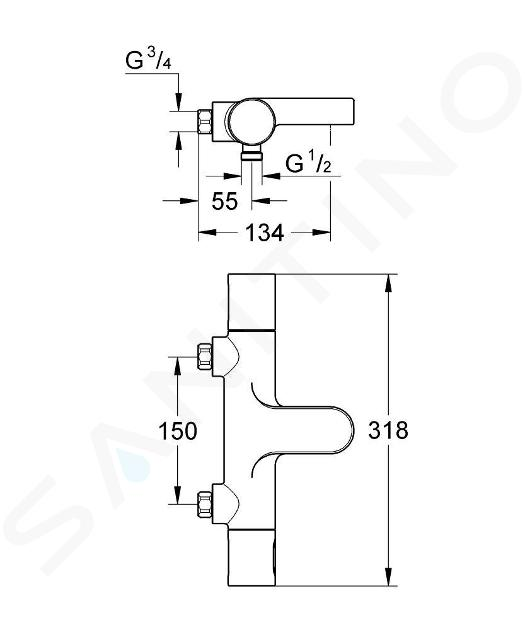 Grohe Grohtherm 3000 Cosmopolitan - Mitigeur thermostatique de baignoire, chrome 34277000