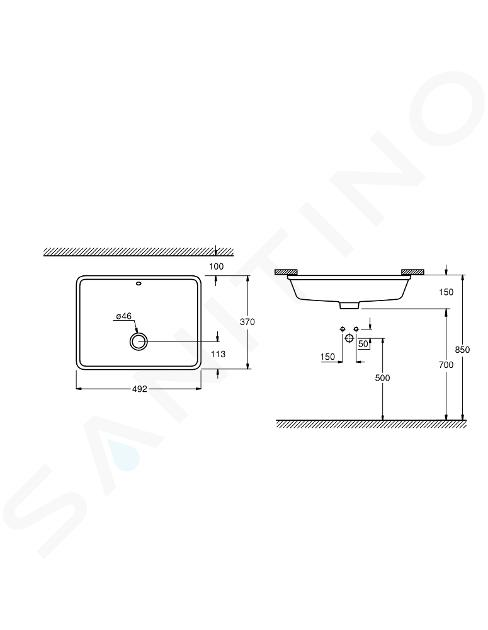 Grohe Cube Ceramic - Onderbouw wastafel, 492x370 mm, PureGuard, wit alpine 3948000H