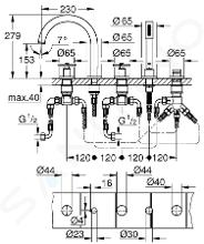 Grohe Atrio - Badkraan, 5-gats installatie, chroom 19923003