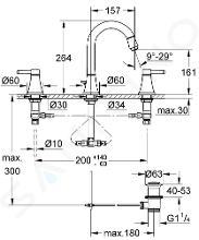 Grohe Grandera - Umyvadlová baterie s výpustí, velikost M, 3-otvorová instalace, Warm Sunset 20389DA0