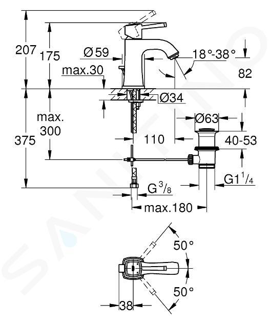 Grohe Grandera - Miscelatore M da lavabo con sistema di scarico, Hard Graphite spazzolata 23303AL0