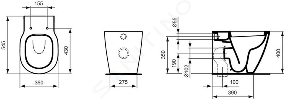 Ideal Standard Connect - Stojící WC s hlubokým splachováním, bílá E823101