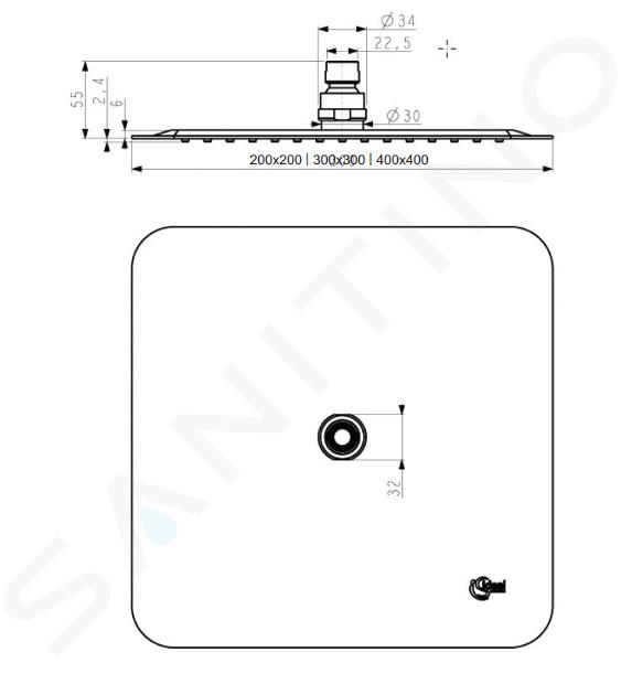 Ideal Standard Idealrain Cube - Douche de tête LUXE, 400x400 mm, inox B0389MY