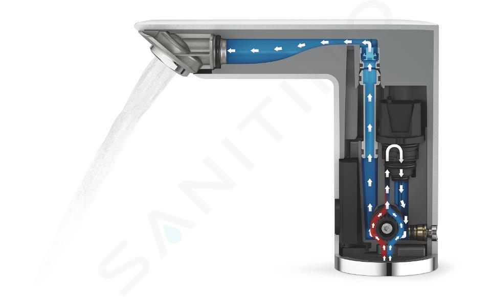Grohe Bau Cosmopolitan E - Infračervená elektronická umyvadlová baterie se směšovacím zařízením, napájení z 6 V baterie, chrom 36451000
