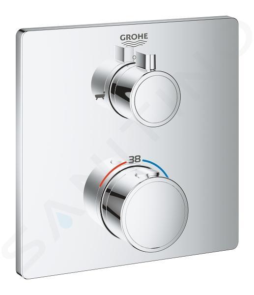 Grohe Grohtherm - Mitigeur thermostatique de baignoire encastré pour 2 sorties, chrome 24080000