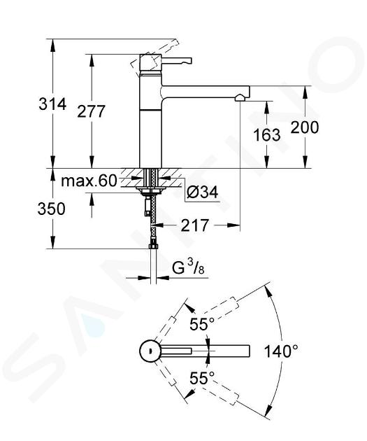 Grohe Essence - Páková dřezová baterie, chrom 32105000