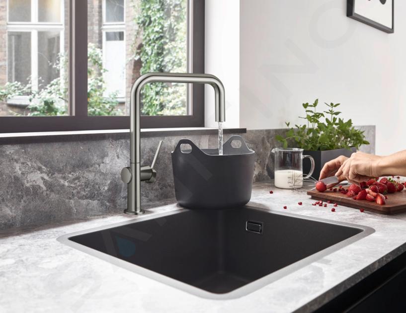 Hansgrohe Éviers - Evier encastré granit S510-U450, graphite noir 43431170