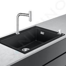 Hansgrohe Abwäschen - Küchenset - Spültisch + Spültischarmatur C51-F660-07, Graphitschwarz / verchromt 43218000