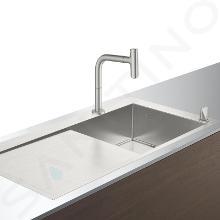 Hansgrohe Abwäschen - Küchenset - Spültisch + Spültischarmatur C71-F450-07, Edelstahl 43205800