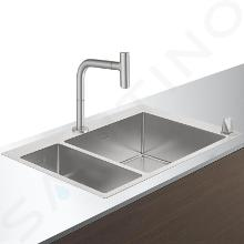 Hansgrohe Abwäschen - Küchenset - Spültisch + Spültischarmatur C71-F655-09, Edelstahl 43206800