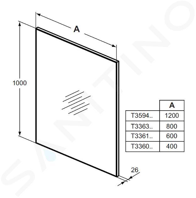 Ideal Standard Mirror&Light - Zrkadlo 1200x1000 mm s rámom T3594BH