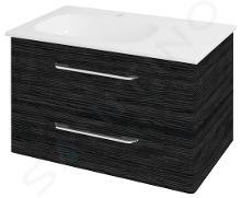 Sapho Pura - Skrinka umývadlová 770mm×505mm×485mm, ľavá, graphite line PR086