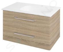 Sapho Pura - Skrinka umývadlová 770mm×505mm×485mm, pravá, dub starmood PR088