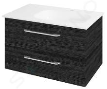 Sapho Pura - Skrinka umývadlová 770mm×505mm×485mm, pravá, graphite line PR089
