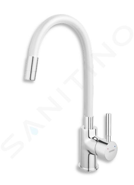 Novaservis Ferro - Miscelatore da lavello con braccio di erogazione flessibile, bianco/cromo 70710,0B
