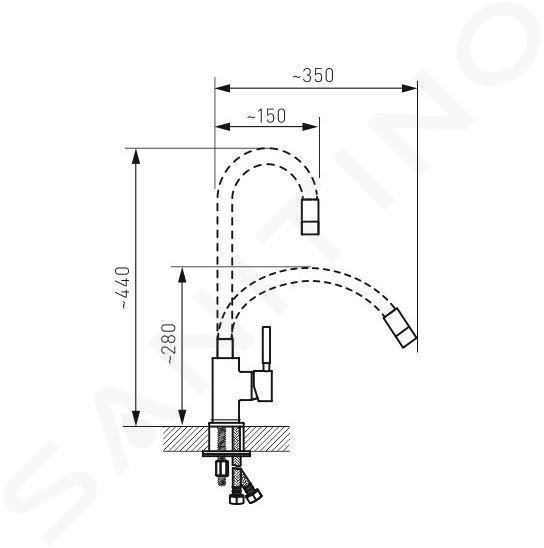 Novaservis Ferro - Miscelatore da lavello con braccio di erogazione flessibile, nero/cromo 70710,0C
