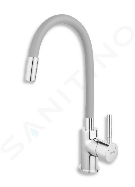 Novaservis Ferro - Spültischarmatur mit flexiblem Arm, silbergrau/chrom 70710,0S