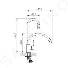 Novaservis Ferro - Keukenkraan met flexibele arm, geel/chroom 70710,0ZL