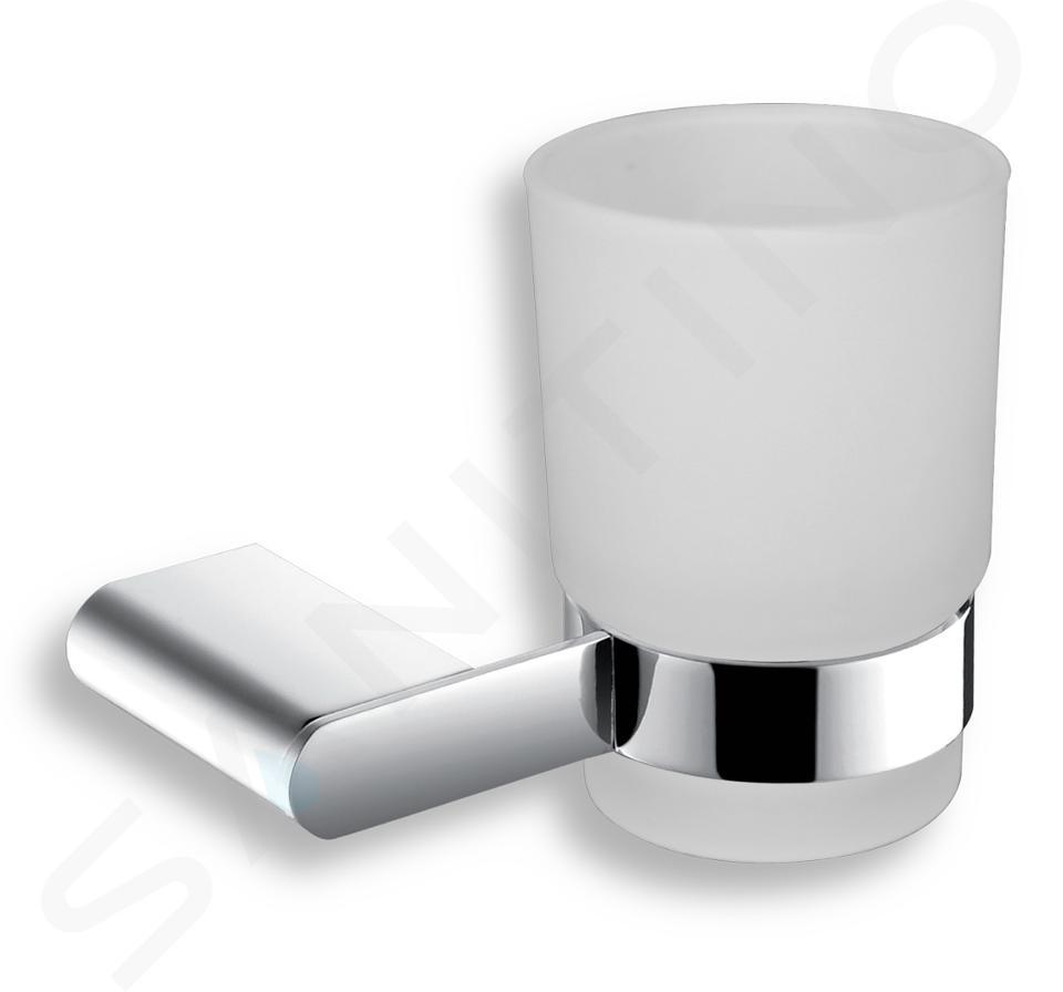 Novaservis Titania Naty - Bicchiere porta spazzolini e dentifricio con supporto, vetro opaco/cromo 66606,0