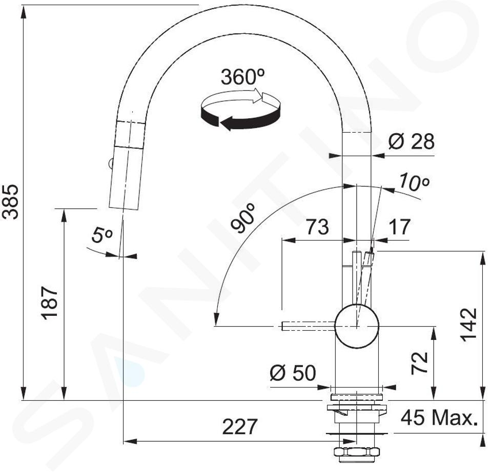 Franke Kranen - FN 4090 keukenkraan met uittrekbare handdouche, mat wit 115.0554.705