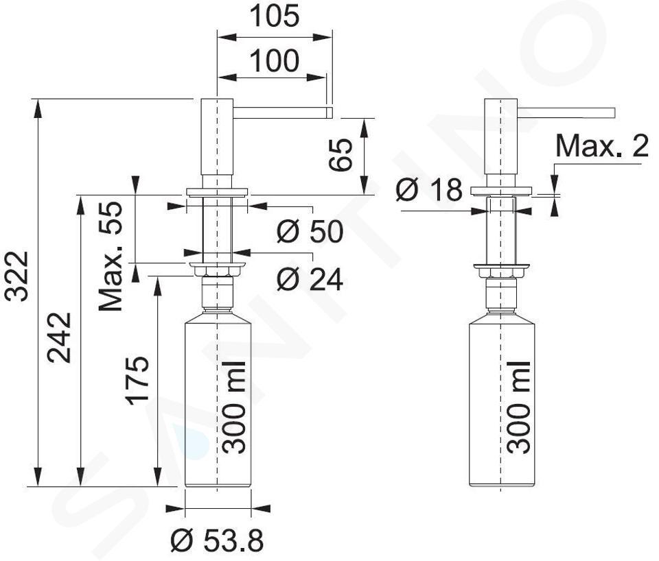 Franke Active - Zeepdispenser, 300 ml, mat zwart 119.0547.906