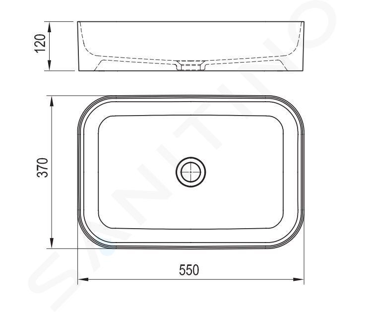 Ravak Ceramic - Umývadlo Slim na dosku, 550x370 mm, biela XJX01155002