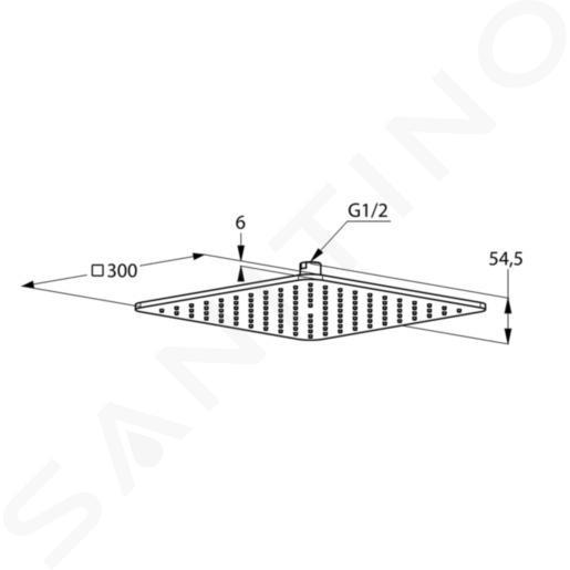 Kludi A-Qa - Douche de tête , 300x300 mm, blanc/chrome 6453091-00
