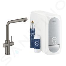 Grohe Blue Home - Mitigeur d'évier avec unité réfrigérante et filtration, Hard Graphite brossé 31454AL1