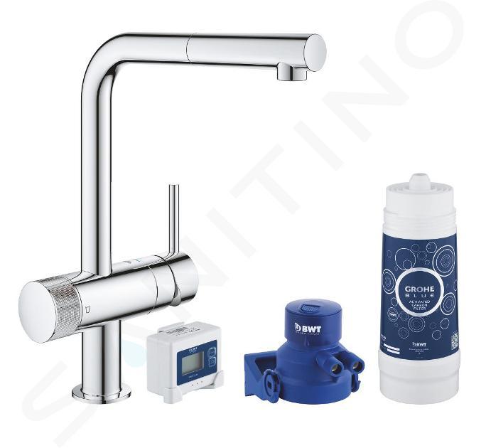 Grohe Blue Pure - Set - Spültischarmatur Minta mit ausziehbarem Auslauf und Wasserfilter, verchromt 30382000