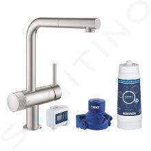 Grohe Blue Pure - Kit de démarrage avec mitigeur Minta et filtration et bec extractible, supersteel 30382DC0