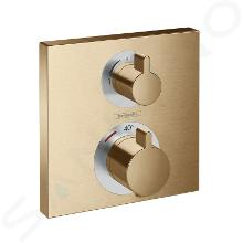 Hansgrohe Ecostat Square - Termostatická batéria pod omietku na 2 spotrebiče, kefovaný bronz 15714140
