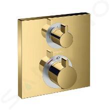 Hansgrohe Ecostat Square - Robinet thermostatique encastré avec 2 fonctions, aspect doré poli 15714990