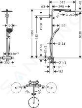 Hansgrohe Raindance Select S - Duschsäule Showerpipe mit Thermostatbatterie, 1jet, schwarzmatt 27633670