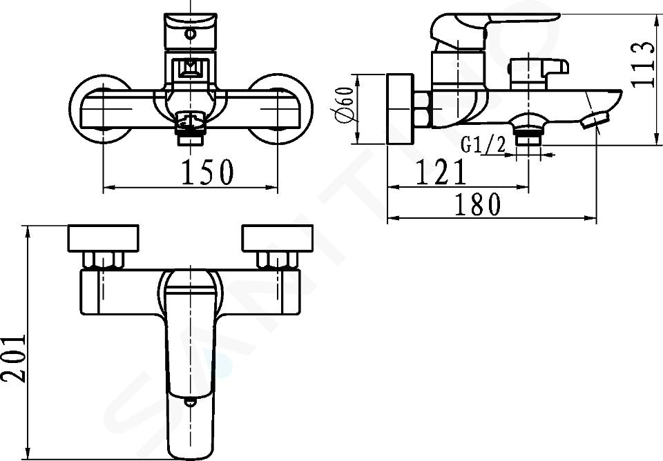 Novaservis Nobless Tina - Miscelatore per vasca da bagno, senza accessori 150 mm, nero 38020/1,5